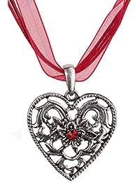Trachtenkette Herz-Barock mit grossem Herz, Strass und Edelweiss - Trachtenschmuck Anhänger Kette für Dirndl, Lederhose und Oktoberfest viele Farben