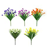 CHBOP Artificielle Faux Fleurs 5 Bundles de 5 Couleurs Extérieur UV Résistant Verdure Arbustes Plantes Intérieur Extérieur Suspendus Planteur Maison Jardin Décoration