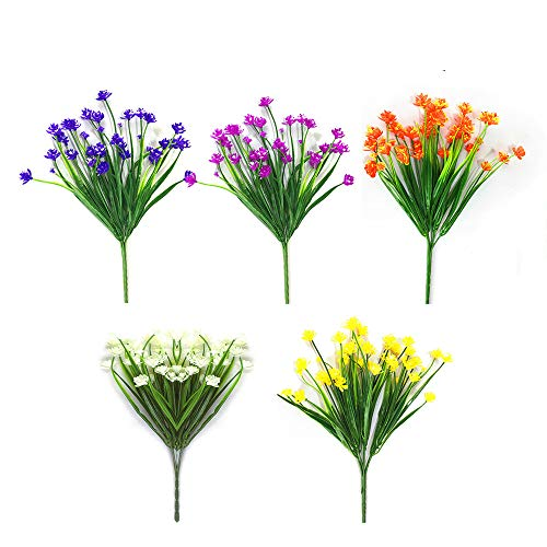 CHBOP Flores Artificiales Falsas 5 Paquetes de 5 Colores al Aire Libre...