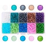 PandaHall 1Box 250 Stück 8mm Glas-Perlen rund bunt für Modeschmuck, gemischte Farben, Bohrung:1,3-1,6mm, ca. 250 Stück/Box. 4mm Colore Misto#3