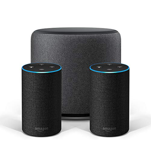 Echo Stereo-System - 2 Echo-Geräte (2. Gen.), Anthrazit Stoff + 1 Echo Sub