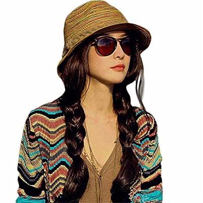 LHWY Summer Autumn Fashion Womens Straw Hat Color Striped Beach Sun Hat Foldable Hat