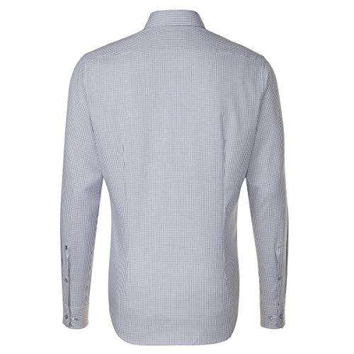 SEIDENSTICKER Herren Hemd Tailored 1/1-Arm, extra lang Bügelfrei Karo City-Hemd Kent-Kragen Kombimanschette weitenverstellbar grau (0032)