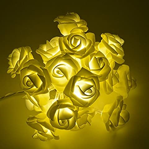Morbuy Lichterketten, 20LED/30LED/40LED/50LED Rosen Blumen feenhafte String Lights für Hochzeit Festival Garden Party Weihnachtsdekoration Zubehör (5M/50LED, Warmes Weiß)