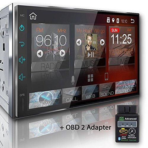 Tristan Auron BT2D7018A Autoradio mit Android 8.0 + OBD 2 Adapter, 7'' Touchscreen Bildschirm, GPS Navi, Bluetooth Freisprecheinrichtung, Octa Core, MirrorLink, USB/SD, DAB+, 2 Din Auto