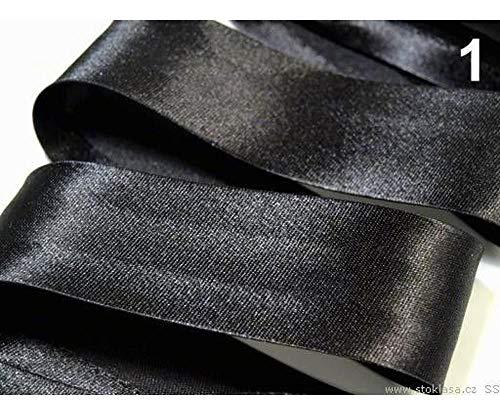 20m 1 Schwarz Schrägband Satin Breite 20mm Gefalzt Ausgemessen, Schrägbänder, Kurzwaren -