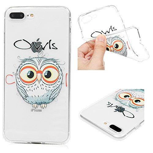 iPhone 7 Plus Hülle Silikon iPhone 8 Plus Case Ultra Dünn Handyhülle Schutzhülle Transparent Handyschale Handytasche Malen Tasche TPU Durchsichtige Schale Soft Etui Runde Eule