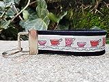 Schlüsselanhänger Schlüsselband Wollfilz schwarz Webband Tassen rosa rot Geschenk!