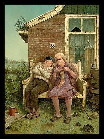 Bild mit Rahmen Marius van Dokkum - True Love - Holz schwarz, 30 x 40cm - Premiumqualität - , Karikatur, Ehepaar, altes Ehepaar, Wahre Liebe, Socken stricken, Idylle, Gartenbank,...
