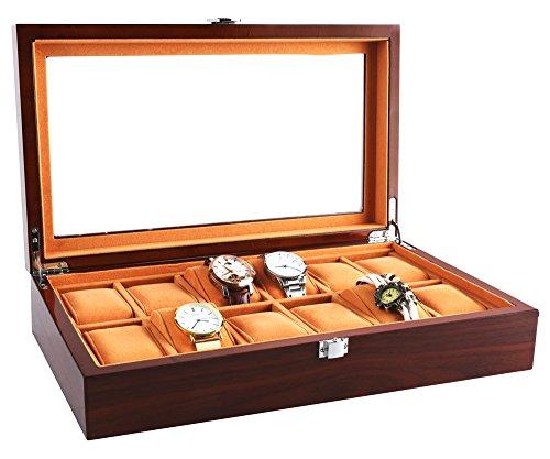 Uhrenbox Holz für Slots Uhrengehäuse Schmuck Display Aufbewahrungsboxen mit Glas Top und Removal Storage Kissen Braun (12 Slots)