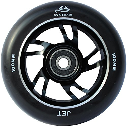 COX SWAIN 2 Stk. High End 100mm Stunt Scooter Rollen Alu Core - Abec 11 Lager, Colour: Jet (Black/ Black), Size: 100mm