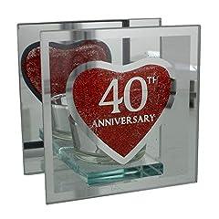 Idea Regalo - Portacandela in vetro a specchio per 40° anniversario di matrimonio