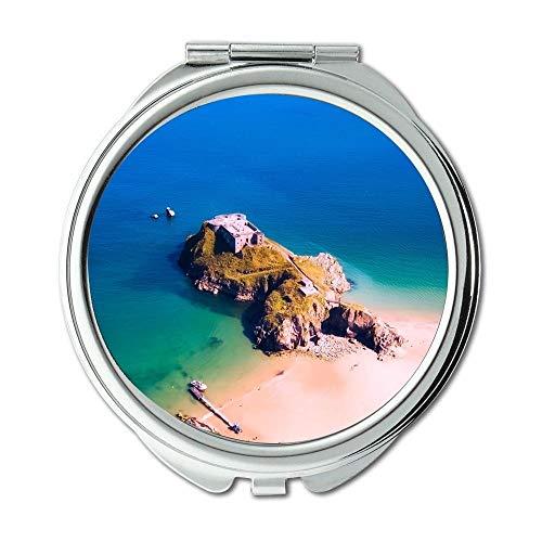 Yanteng Spiegel, Schminkspiegel, Luftbild Strandboot, Taschenspiegel, tragbarer Spiegel