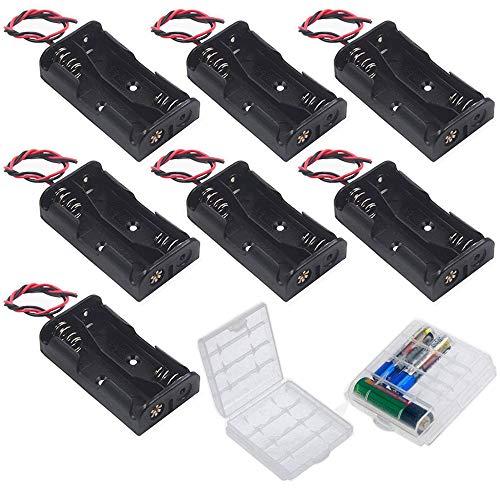 GTIWUNG 7 Stück AA Batteriehalter Gehäuse Kunststoff Akku Aufbewahrungsbox, Batteriehalter für 2 x 1,5V AA Batterie Halterung 3V mit Anschlusskabel (2 Solts)