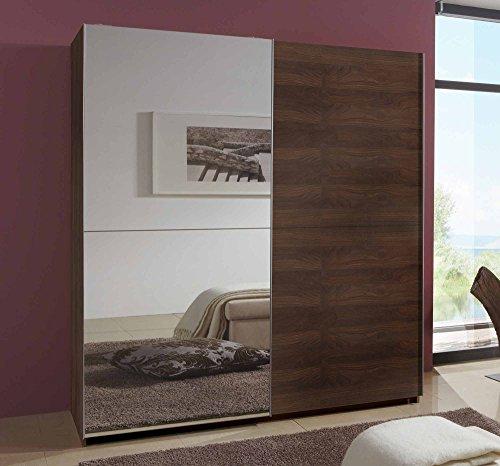 Schwebetürenschrank in Columbia-Nussbaum-Nachbildung mit 1 Spiegeltür, 2 Kleiderstangen und 2 Einlegeböden, Maße: B/H/T/ ca. 135/198/64 cm