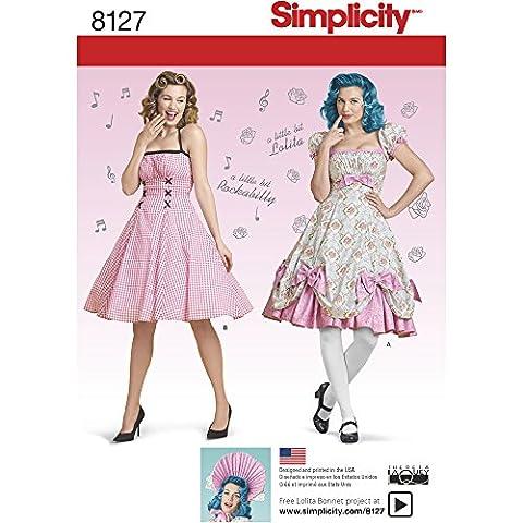 Simplicity Muster 8127Damenkleider Lolita und Rockabilly Kleider Schnittmuster, weiß, Größe