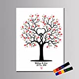 LianLe Fingerabdruck Baum Malerei Segeltuch Gästebuch für Hochzeits Geburtstags Party mit 2 Inkpads