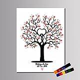 LianLe árbol de huellas dactilares pintura lienzo libro de invitados para boda fiesta de cumpleaños con