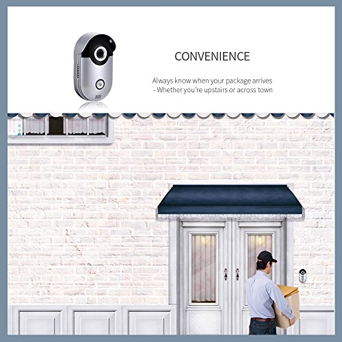 XIAOKOA-WiFi Wireless Video Doorbell with HD 720P Video, 4pcs IR-LEDS, Night Vision 10m, 2-Way Audio, Motion Sensor, Door Camera, IPX-6, 138° Angle of view , (APP for Android, iOS )