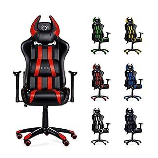 Diablo X-One Horn Silla de juego, Silla de oficina en óptica de carreras, Tapicería de cuero sintético, con apoyabrazos ajustables, selección de color