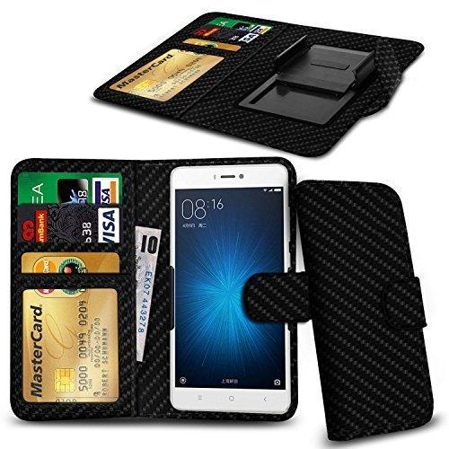 N4U ONLINE - Verschiedene Farben Clip Serie PU- Leder Brieftasche Buch Hülle für Gionee Ctrl V5 - Karbonfaser