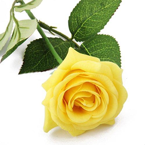 Sharplace Künstliche Seiden Blume Rose mit Grün Blättern für Haus Hochzeit Dekor Das Symbol für Liebe - Gelb, 7cm (Seide Blumen Rosen Gelb)