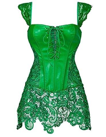 Robe bustier corset sexy pour femme en simili cuir à lacets - Vert - 38