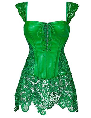 Sexy Burlesque Beauty Kostüm - Damen Gothic korsett für Damen sexy Bustier Korsett Kunstleder zum Clubwear Korsagenkleid Green UK Size 8-10 M