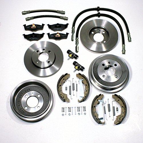 Bremsscheiben belüftet + Bremsbeläge vorne + Bremstrommeln + Bremsbacken + Radbremszylinder + Zubehör hinten + Bremsschläuche vorne + hinten