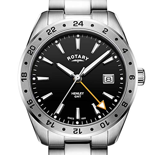 Rotary GB05295/04 - Orologio da uomo in acciaio INOX, quadrante nero