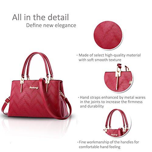 NICOLE&DORIS Nuove donne / Donna Fashion Boutique Top Handle borsa di Crossbody della spalla della borsa del Tote di goffratura modello PU Nero rosso