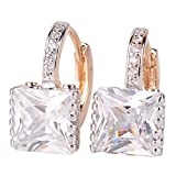 GULICX Fashion Jewellery Elegant Gold Electroplated Princess Cut Zircon Leverback Huggie Earrings Clear
