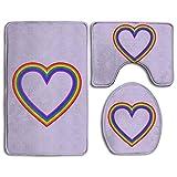 Bath Mat, 3 Piece Bathroom Rug Set LGBT Rainbow Heart Purple Nonslip Flannel Shower Mat Mildew Proof U-Shaped Toilet Cover Rugs for Men Women Kids, Bathroom Rugs, Bathroom Accessories