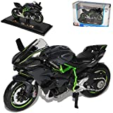 Maisto Kawasaki Ninja H2R Karbon Schwarz Ab 2014 Mit Sockel 1/18 Modell Motorrad mit individiuellem...