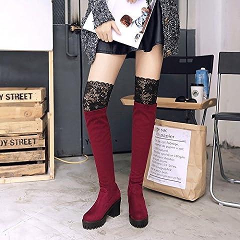 Il merletto sexy il ginocchio stivali in pelle scamosciata irregolare