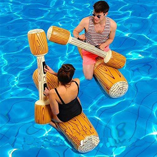 YHYGOO Aufblasbarer Pool Schwimmt Pool Party Spielen Boot Floß Kollision Spielzeug Holzmaserung Sitzhalterungen Wasser Schwimmen Schwimm Reihe für Kinder/Erwachsene, Max Gewicht 160 £