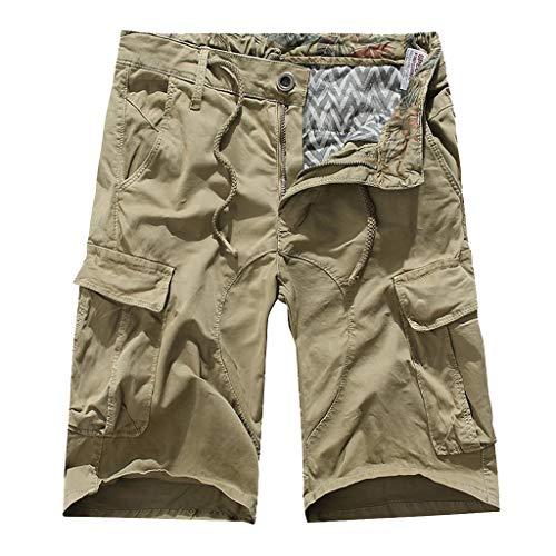 Cargo Shorts Herren GreatestPAK Sommer Herren Multi-Pocket Tooling-Hosen Locker Lässig stylisch Mid-Rise Shorts,Khaki,29