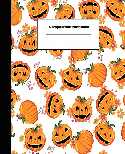 Composition Notebook: Cute Sweet Pumpkin Halloween Pattern Background Wide Ruled Paper (Handwerk Familie Halloween-spiele)