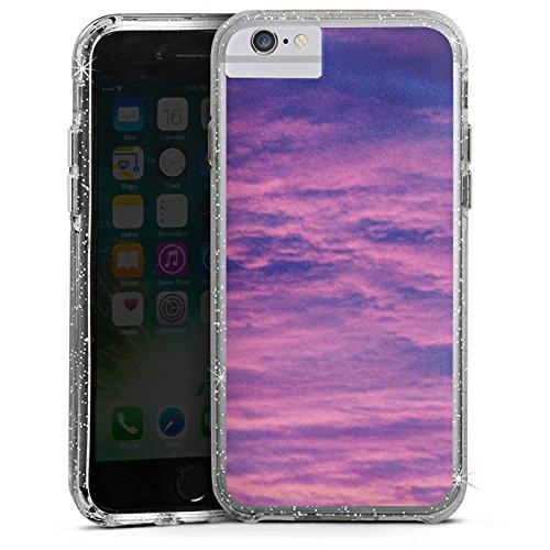 Apple iPhone X Bumper Hülle Bumper Case Glitzer Hülle Lila Wolken Himmel Bumper Case Glitzer silber