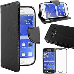 ebestStar - Compatible Coque Samsung Ace 4 Galaxy SM-G357FZ Etui PU Cuir Housse Portefeuille Porte-Cartes Support Stand, Noir +Film Protection écran Verre Trempé [Appareil: 121.4 x62.9 x10.8mm 4.0'']