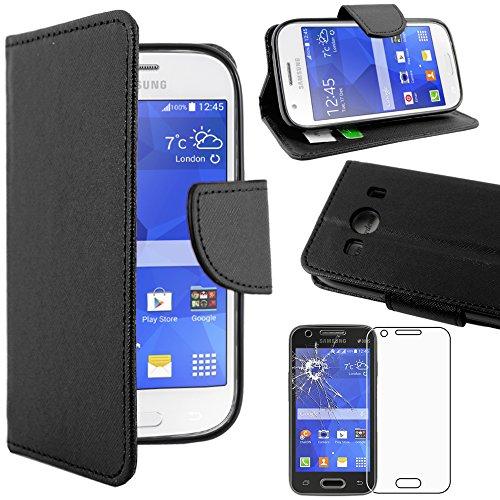 ebestStar - kompatibel Samsung Galaxy Ace 4 Hülle SM-G357FZ Kunstleder Wallet Case Handyhülle [PU Leder], Kartenfächern Standfunktion, Schwarz +Panzerglas Schutzfolie [Phone: 121.4x62.9x10.8mm 4.0