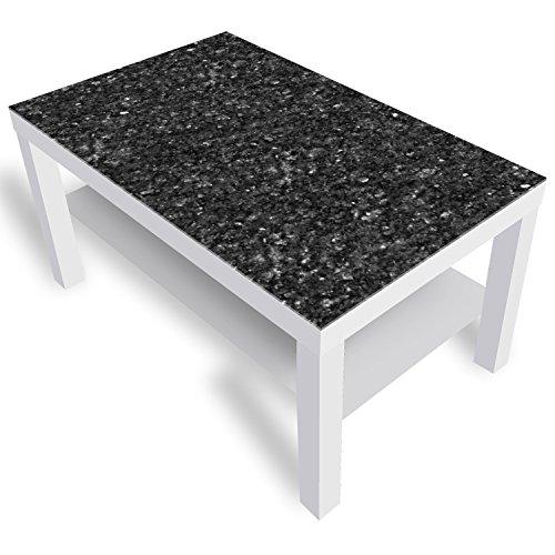 DekoGlas IKEA Lack Beistelltisch Couchtisch \'Granit\' Sofatisch mit Motiv Glasplatte Kaffee-Tisch, 90x55x45 cm Weiß