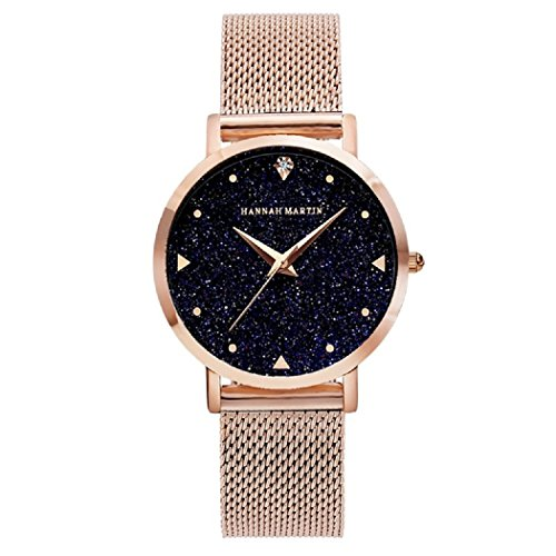 Damen Uhren, L'ananas 2018 Sternenklarer Himmel Wählen Mesh Armband Quarz Uhren Mit Geschenkbox (Gold)