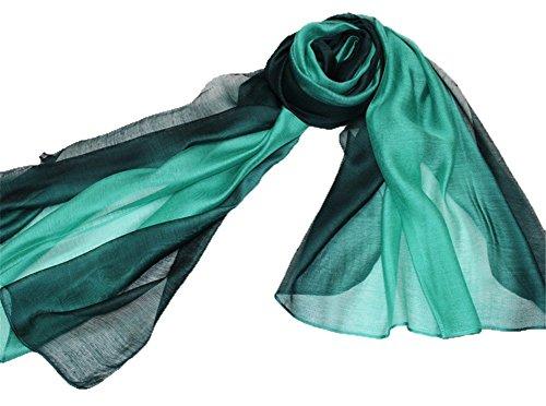 195*70cm Elegant stillvoll Seide Halstuch Stola Schal Farbverlauf Geschenk Freundin Damen (Türkis )
