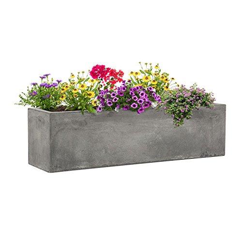 Blumfeldt solidflor • vaso per piante • fioriera • posizionamento libero • nessun foro per drenaggio dell'acqua • corpo in vetroresina • per interni / esterni • effetto cemento • 75 x 20 x 20 cm (lxaxp) • grigio chiaro