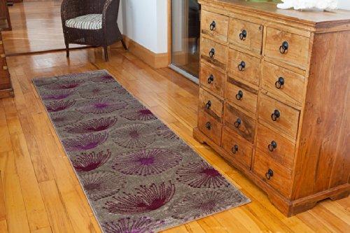 Tappeto contemporaneo con motivo floreale soffioni, colori: nero e viola - 70 cm x 240 cm (2'4
