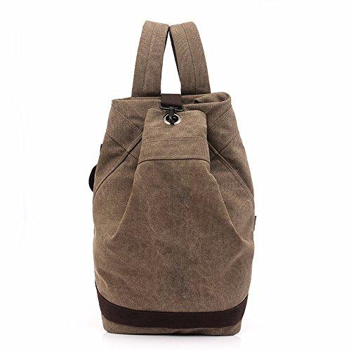 Preisvergleich Produktbild XIAODIU Travel Umhängetasche Stecker Retro Outdoor Fashion Bucket Tasche groß Kapazität Sports Casual Leinwand Rucksack, braun