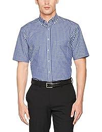 Eterna Modern Fit  Kurzarm blau kariert mit Modern Button-Down-Kragen