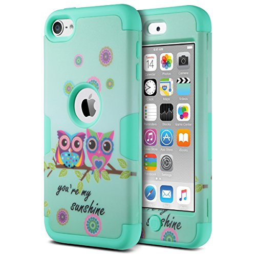 ULAK iPod Touch 5 Hülle, iPod Touch 6 Hülle 3in1 Stoßfest Hybrid High Impact Hart PC und Weiche Silikon Schutzhülle Tasche Case Cover für Apple iPod Touch 5 6 Generation (K-Eule) Ipod Touch 5 Cover