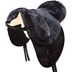 CHRIST Montura Inglesa para Caballo Fellsattel Premium Plus Bareback-Pad/Silla de Montar de Piel de Cordero, Talla Media-Sangre, Color Antracita